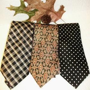 3 Men's Silk Neckties CHAPS-Robert Stock- Stafford